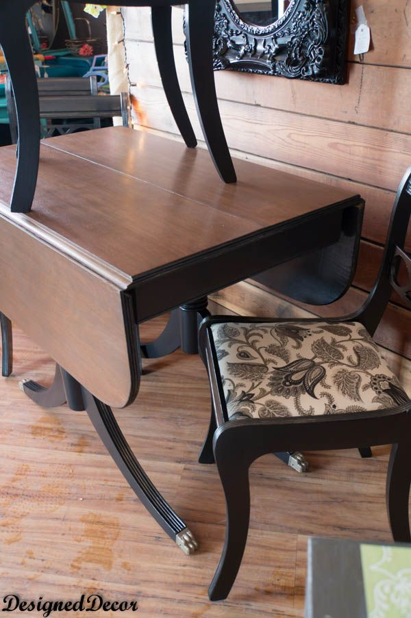 Super cool finish on these Duncan Phyfe style Drop Leaf Table and Chairs #modernmasters #takealooksi