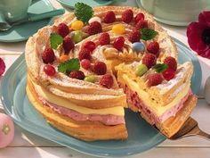 Brandteig-Torte mit Himbeeren -