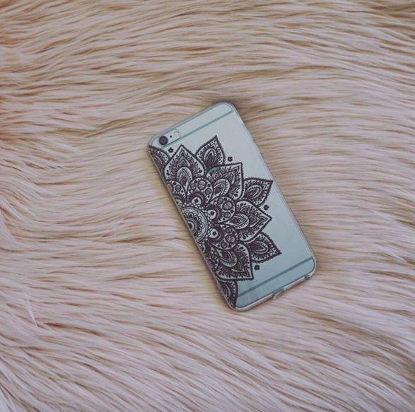 Black Sun Henna Soft TPU Mobile Phone Case for iPhone