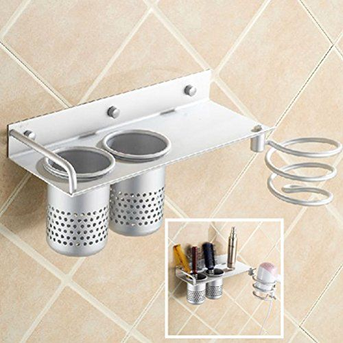Bathroom Organization: Hair Dryer Holder Rack,Wall Mount with Cups,Bathroom…