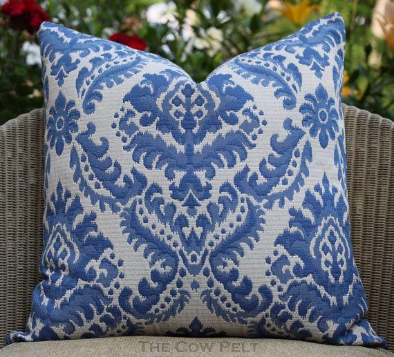 Damask Blue Pillow, Jacquard, Handmade, Decorative Pillow, Designer Pillow,  Throw Pillow, Cottage Chic