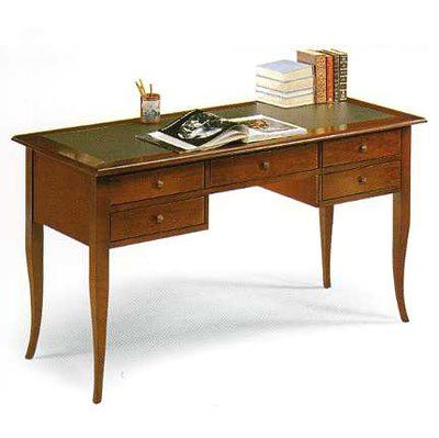 Executive Wooden Desk, Office Desk, Classic Desk, Leather Top cm 130x65, h 81, MADE IN ITALY