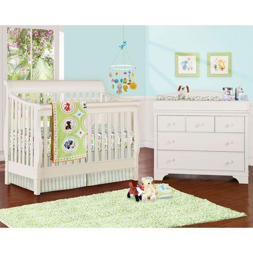 Jamison White 2 Pc Convertible Crib Set Changing Table