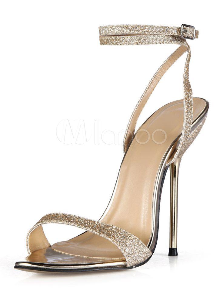 Gold Stiletto Heel Sequined Cloth Ladies' Dress Sandals  @ Milano.com 😎THG
