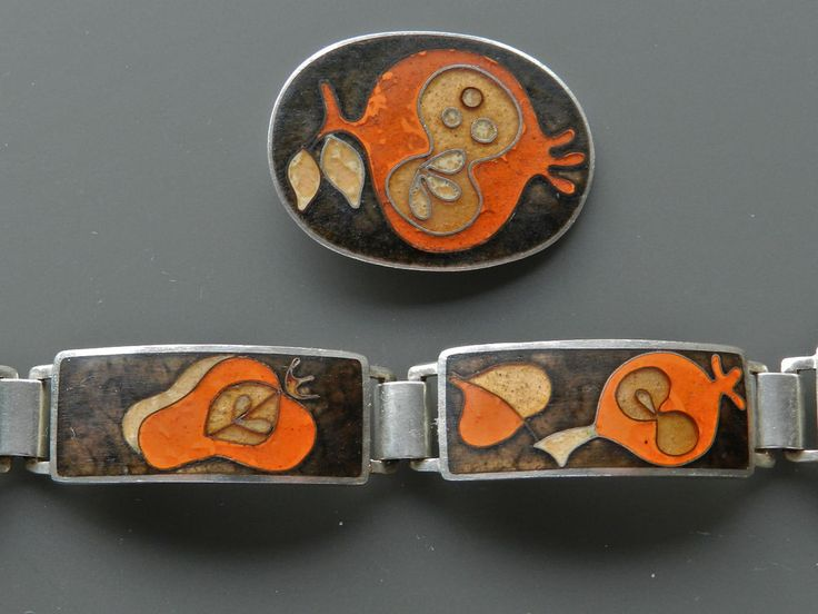Altes Emallierter Designer Armband & Anhänger von Perli Schwäbisch Gmünd - S3304