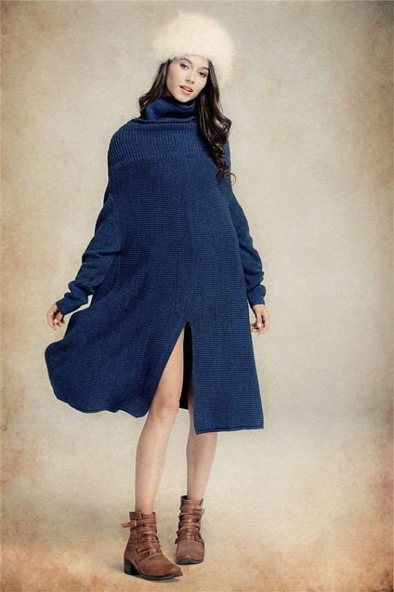 Abito in maglia lana in inverno, rosso blu e grigio, Winter Dress, alta collare Dress, Abito tunica Oversize, a maniche lunghe abito, abito asimmetrico