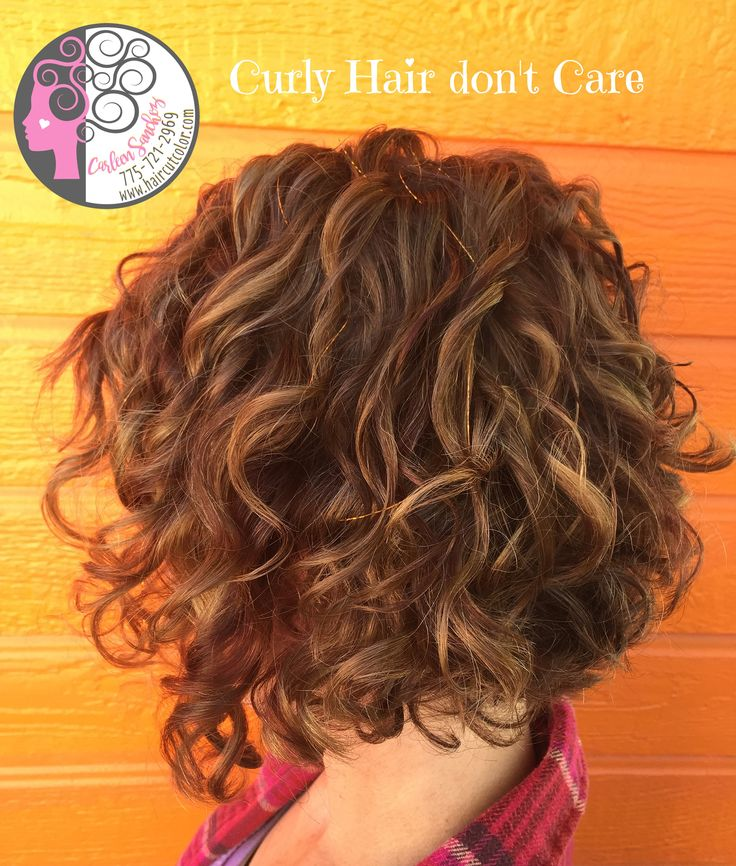 www.haircutcolor.com  Naturally Curly Bob with Balayage high and low lights