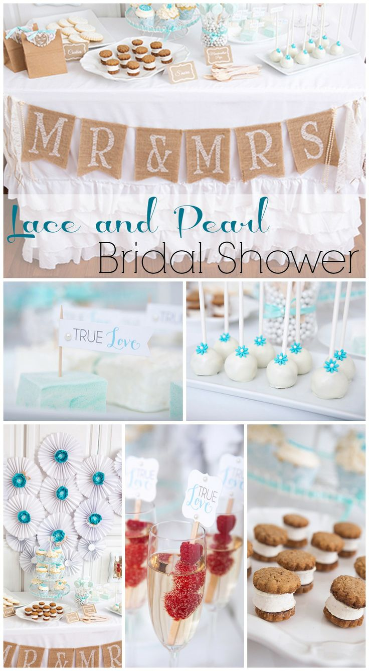 Stunning lace and pearl bridal shower dessert table in white and turquoise! See more party ideas at CatchMyParty.com. #bridalshower #lace #pearl #desserttable