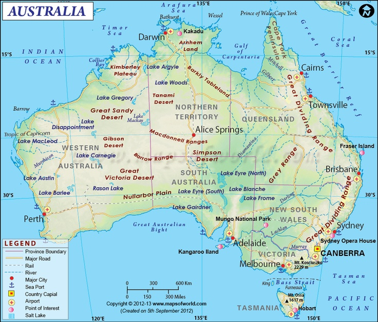 Australia Map showing the provinces with their capitals