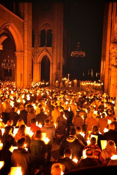 Easter vigil at the Cathedral of Notre Dame, Paris.
