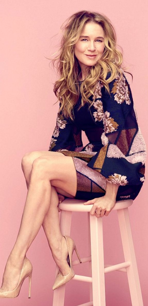 Who made Renée Zellweger's print dress and nude pumps?Dress – Roksanda