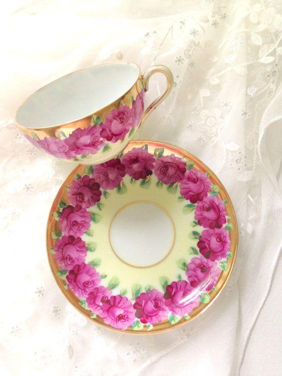 Vintage Bone China Tea Cup and Saucer Rose by MariasFarmhouse, $65.00