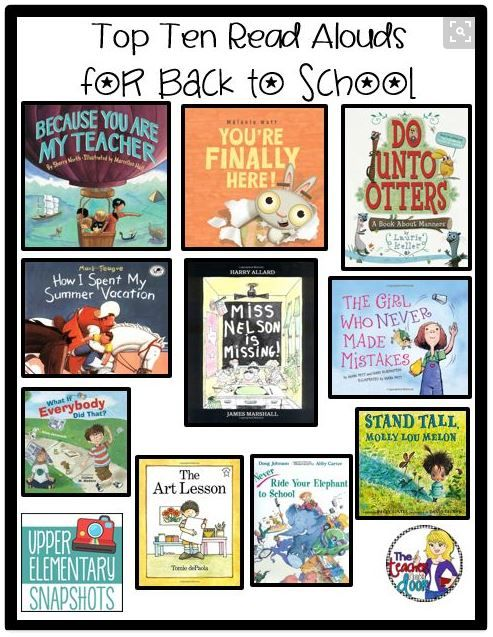 "Top Ten Read Alouds for Back to School     Pinterest Pin displaying 10 books to read aloud to your students on the first day of school.    From the original post: ""I DO love back to school time. I love the freshly sharpened crayons, the clean pink erasers, and I especially love the pencils that are all the same size and perfectly pointed for the first (and possibly the last) time in my classroom. Back to School is a time of new beginnings, the glorious Spring of the school year. It's also…"