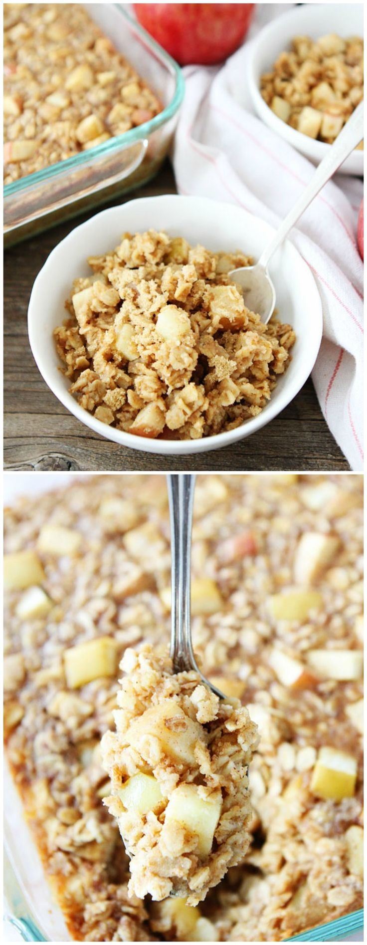 Baked Peanut Butter Apple Oatmeal Recipe on twopeasandtheirpod.com Love this easy baked oatmeal and it reheats well too! Make a pan and eat all week!