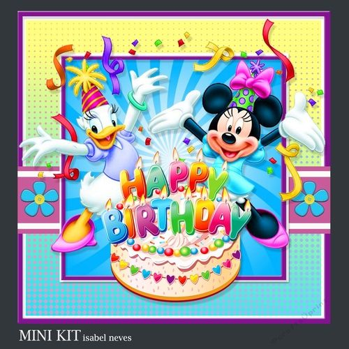Happy Birthday 2 by Isabel Neves Mini Kit Includes Card Front Mini Print & Fold Card Card Insert Tiles Decoupage Sentiment Tags and Preview