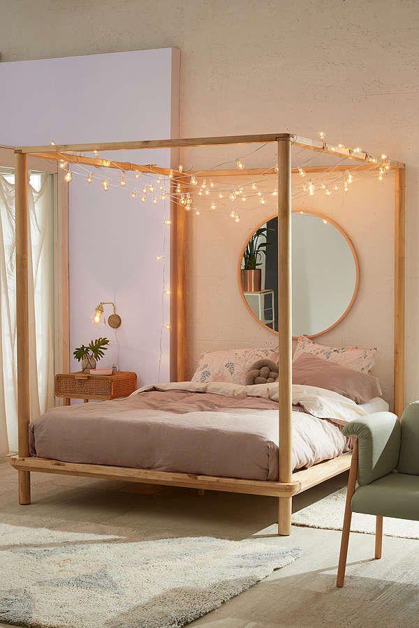 Urban Outfitters Eva Wooden Canopy Bed | Scandinavian Design Interior  Living | #scandinavian #interior
