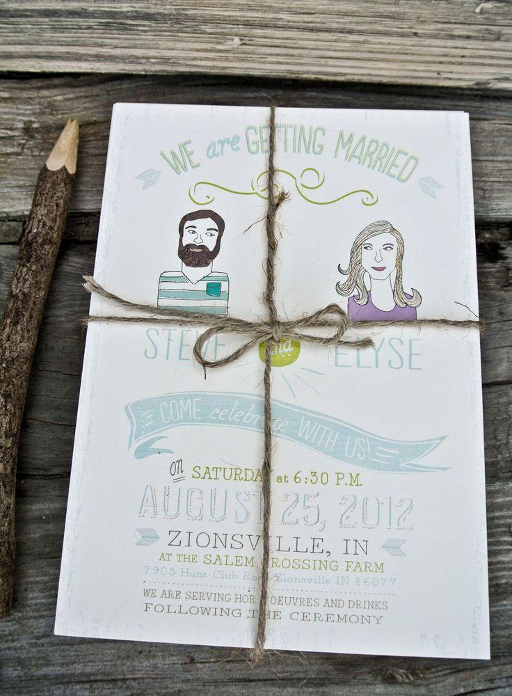 Wes Anderson-style custom illustrated wedding invitations!