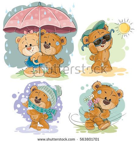 Set of vector clip art illustrations of teddy bear and different seasons