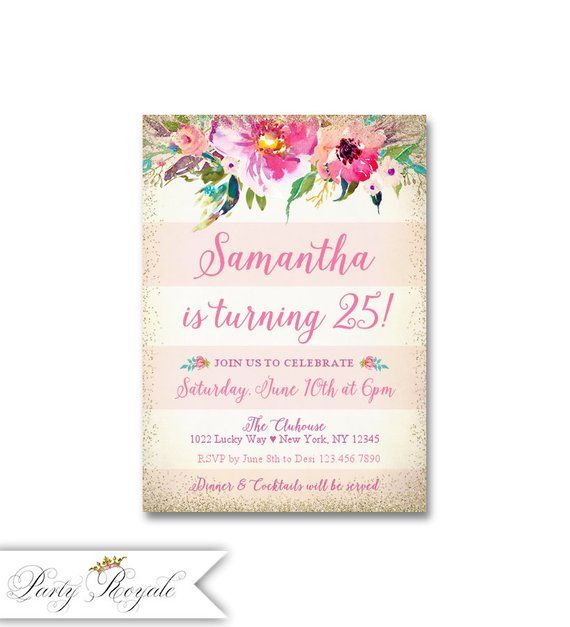 Womens Pink And Gold Birthday Invitations 25th Colorful Florals For Her Digital File Or Printed Invites