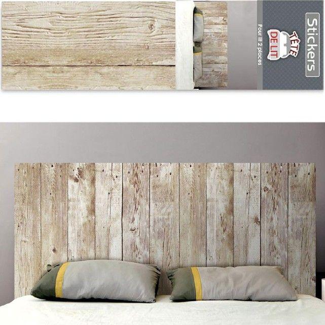 Les 25 meilleures id es de la cat gorie autocollant mural - Tete de lit planche bois ...