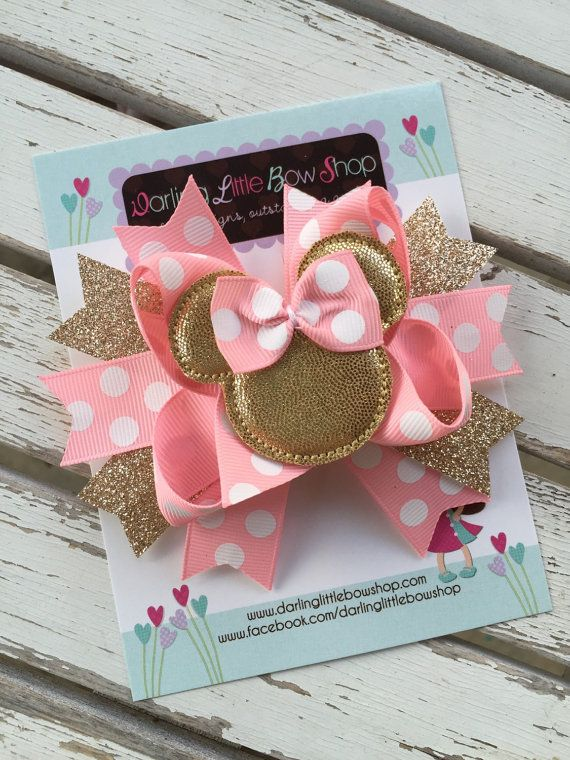 Miss Mouse Bow  Pink and Gold Miss Mouse by DarlingLittleBowShop