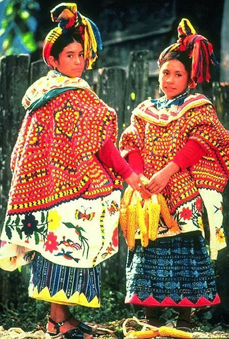 Traje tipico de Guatemala. The introduction of orange could be from a mexican and Native American influence.: