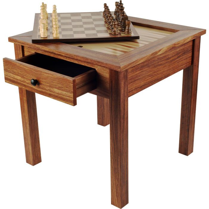 "Features:  -Chess pieces included.  -Veneered table.  -Chess backgammon table.  -Drawer for chess piece storage.  -Backgammon game board.  -Chess game board: 12.5"" W x 12.5"" L.  Game Type: -Chess/Chec"