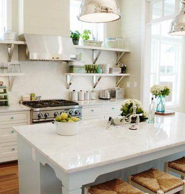 White kitchen, love the shelves