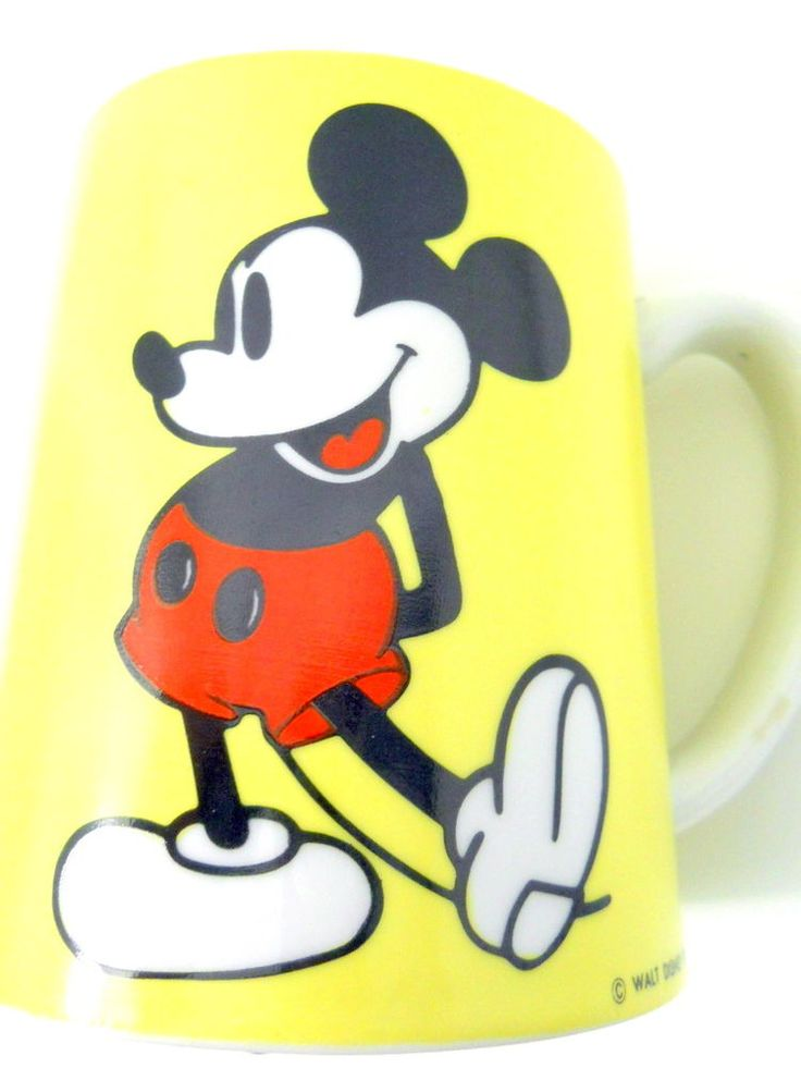 Disney Mickey Mouse Musical Coffee Mug Schmidt Bros Japan Yellow MICKEY song