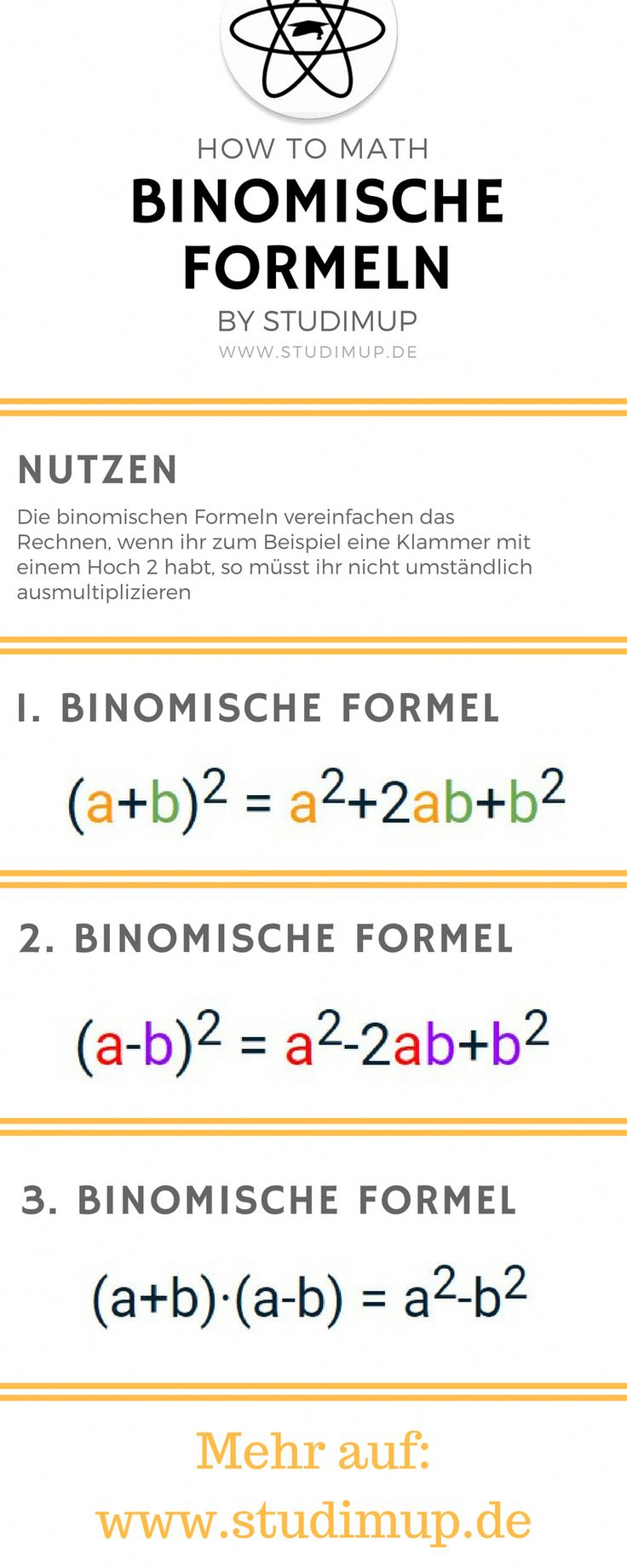 The binomial formulas easily explained. Learning math is easy. Learn mathematics in high school and junior high school. #mathtricks