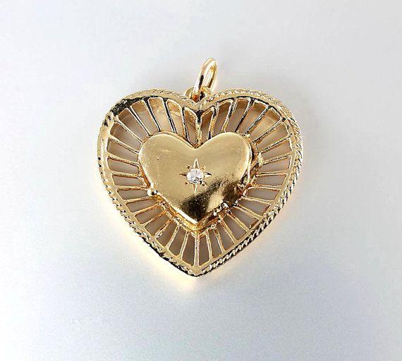 Vintage 14K Heart Locket Pendant Diamond heart 1940s by RMSjewels