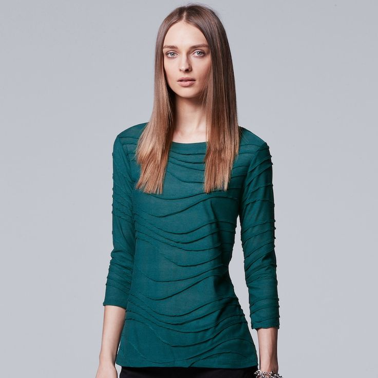 Women's Simply Vera Vera Wang Windy Jacquard Crewneck Tee, Size: Medium, Green