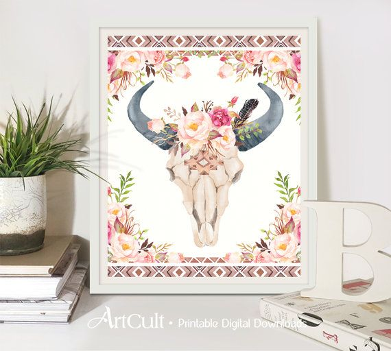 Printable BOHO wall art tribal Aztec BULL SKULL by ArtCult on Etsy