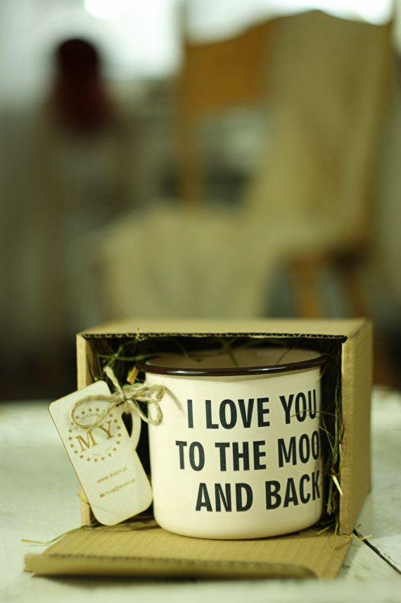 Te amo a la luna y detrás - grabado personalizado taza taza Personal esmalte METAL vaso Personal con oración