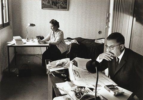 Jean-Paul Sartre, Paris; Simone de Beauvoir, Paris; Simone de Beauvoir, Paris; Simone de Beauvoir et Jean-Paul Sartre (4 works) by Gisèle Freund
