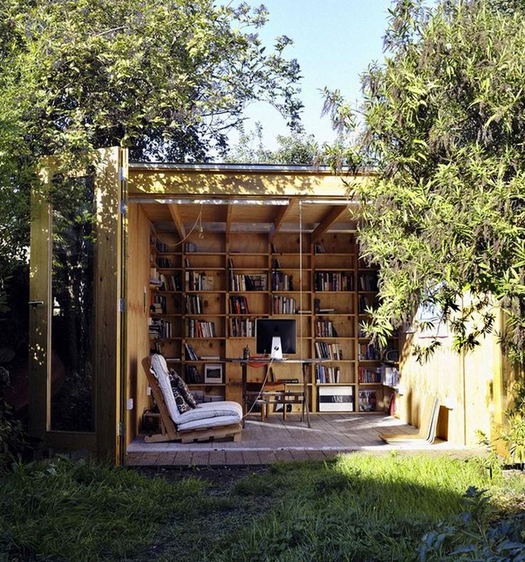 Outdoor Classroom Design Ideas ~ Why not turn an old backyard shed into a library