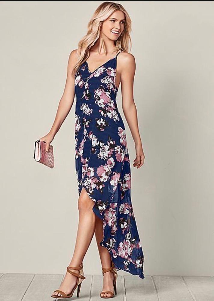 e1b45a38f194 Venus Women's High Low Floral Dress Size XS Dark Blue Pink White Sheer 85  #Venus #PartyCocktail
