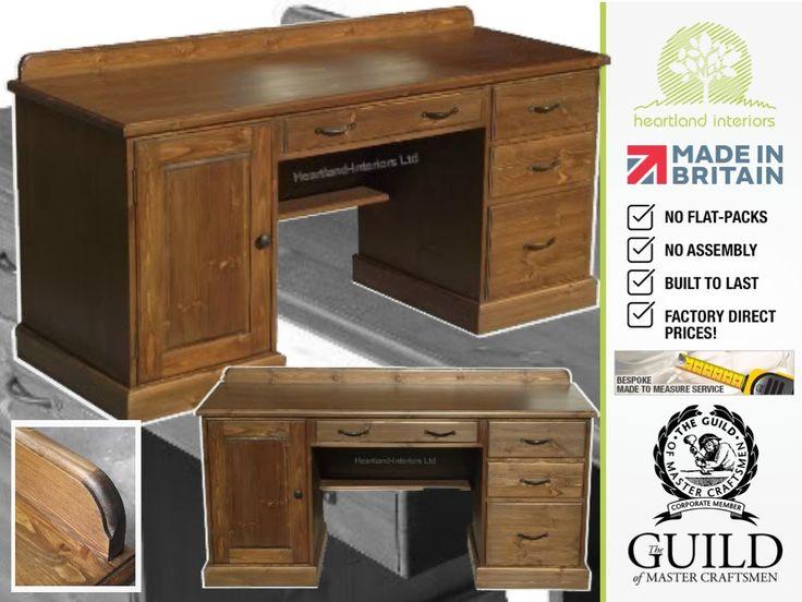 Traditional Large Twin Pedestal Writing Desk With Filing Drawer TPD8. Wood  Computer DeskWriting DeskOffice DesksSolid ...