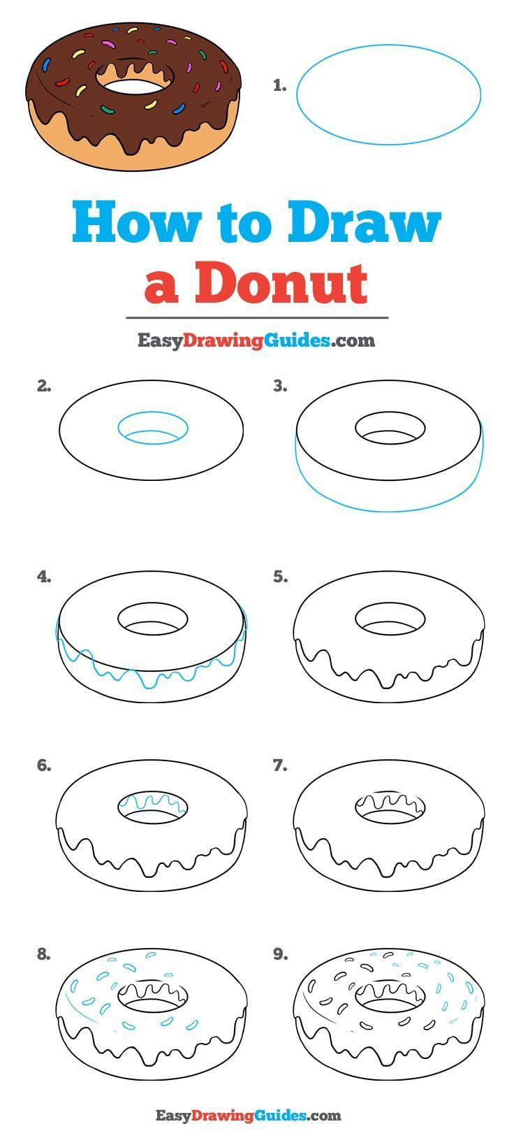 Lernen Sie, wie man einen Donut zeichnet: Einfaches Zeichnen-Tutorial für Kinder und Beginnen