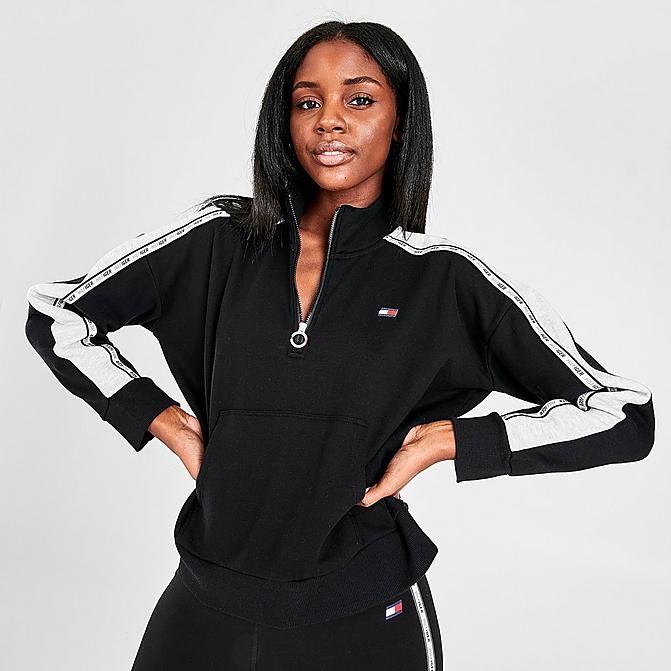 Women S Tommy Hilfiger Logo Tape Mock Neck Half Zip Sweatshirt Finish Line Half Zip Sweatshirt Pullovers Outfit Half Zip Pullover
