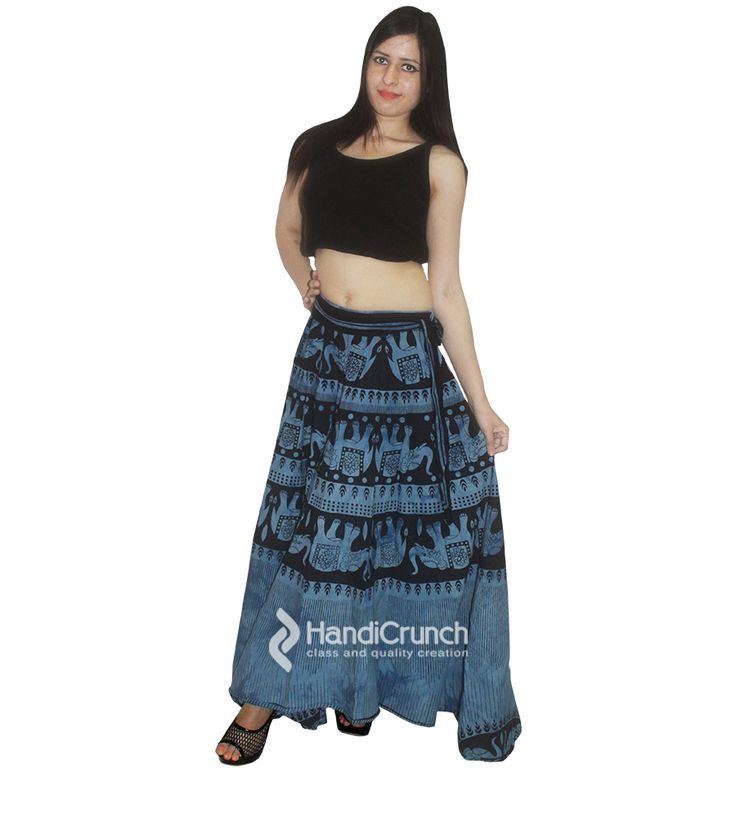 Long rapron skirt in blue color for women with elephant print