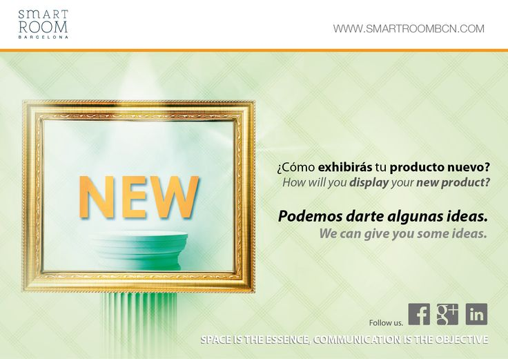 ¿#Exhibir un #producto_nuevo? Ponte en contacto con Smart Room Barcelona. #Displaying a #brand_new_product? Get in touch with Smart Room Barcelona.  www.smartroombcn.com  // Twitter: @SMARTROOM_BCN // Facebook: smartroombcn // Google+: +Smartroombcn //Linkedin: Smart Room Barcelona