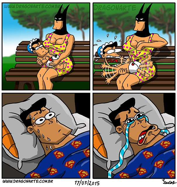 """Baby Supey and Mommy Batsy causes Supes to have a sissy face on the bottom right of this comic picture"""