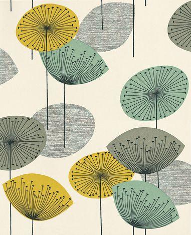 Dandelion Clocks Chaffinch wallpaper by Sanderson