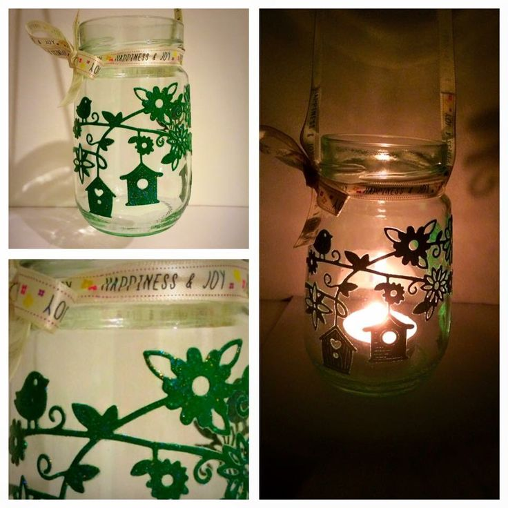 Green detailed hanging candle holder