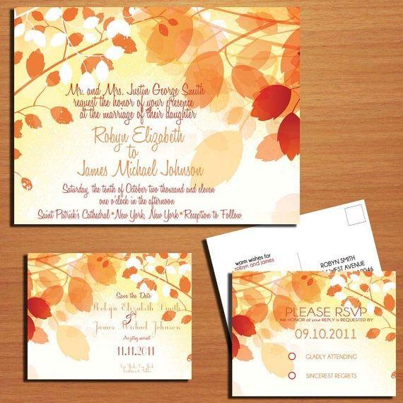 Fall themed modern wedding invitation suite #wedding #fall #autumn #weddinginvite #invitation