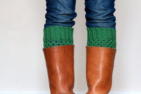 Crochet Boot Cuffs in Emerald Green  Boot toppers by LumiStyle, $39.00