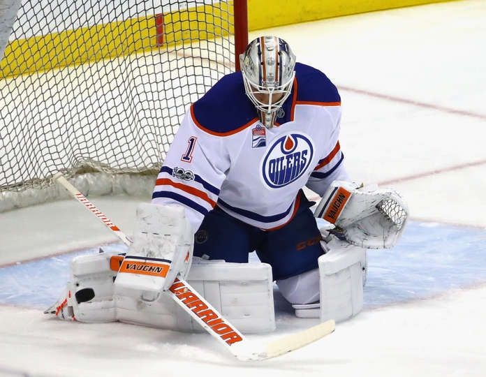 ANAHEIM, CA - JANUARY 25: Laurent Brossoit #1 of the Edmonton Oilers skates in warm-ups prior to the game against the Anaheim Ducks at the Honda Center on January 25, 2017 in Anaheim, California. (Photo by Bruce Bennett/Getty Images)