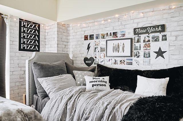 Black White And Silver Www Dormify Com Dorm Room Designs Dorm Room Inspiration Girls Dorm Room