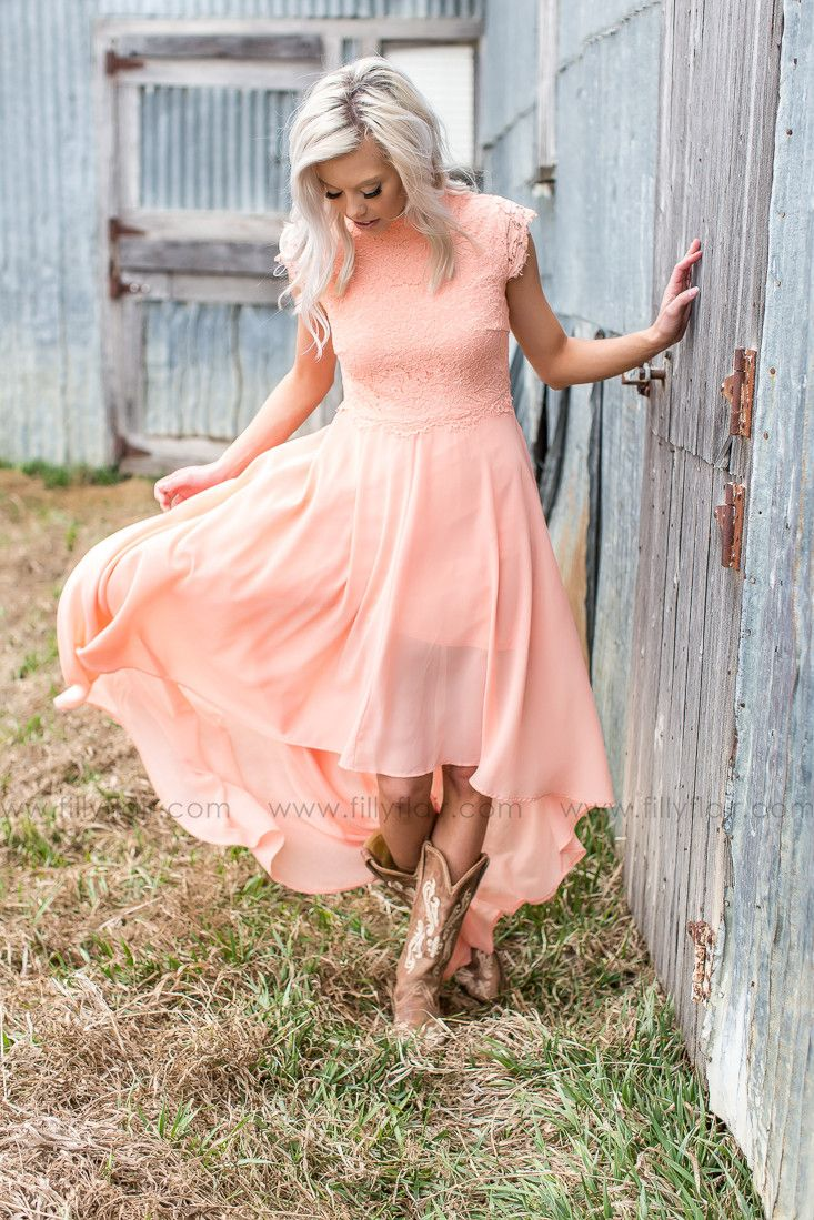Gorgeous country lace bridesmaid dress with boots!